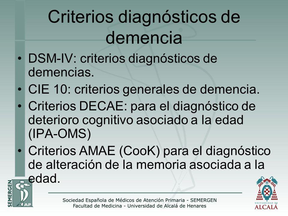 Criterios diagnósticos de demencia DSM-IV: criterios diagnósticos de demencias. CIE 10: criterios generales de demencia. Criterios DECAE: para el diag