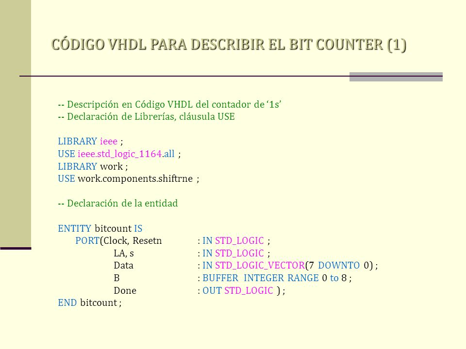 CÓDIGO VHDL PARA DESCRIBIR EL BIT COUNTER (1) -- Descripción en Código VHDL del contador de 1s -- Declaración de Librerías, cláusula USE LIBRARY ieee