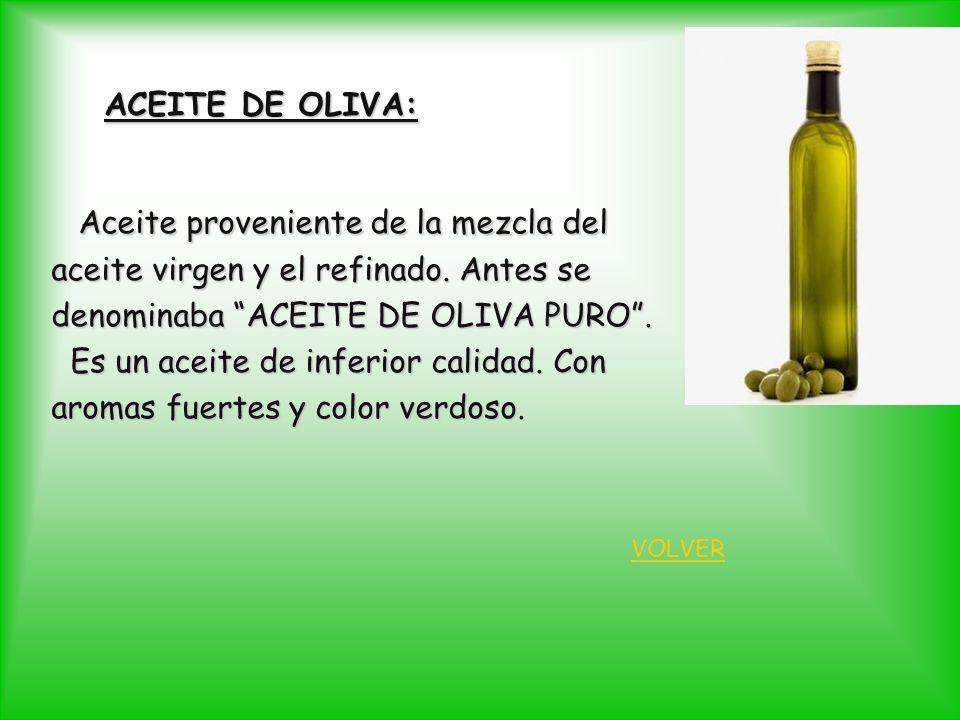 ACEITE DE OLIVA: Aceite proveniente de la mezcla del Aceite proveniente de la mezcla del aceite virgen y el refinado. Antes se denominaba ACEITE DE OL