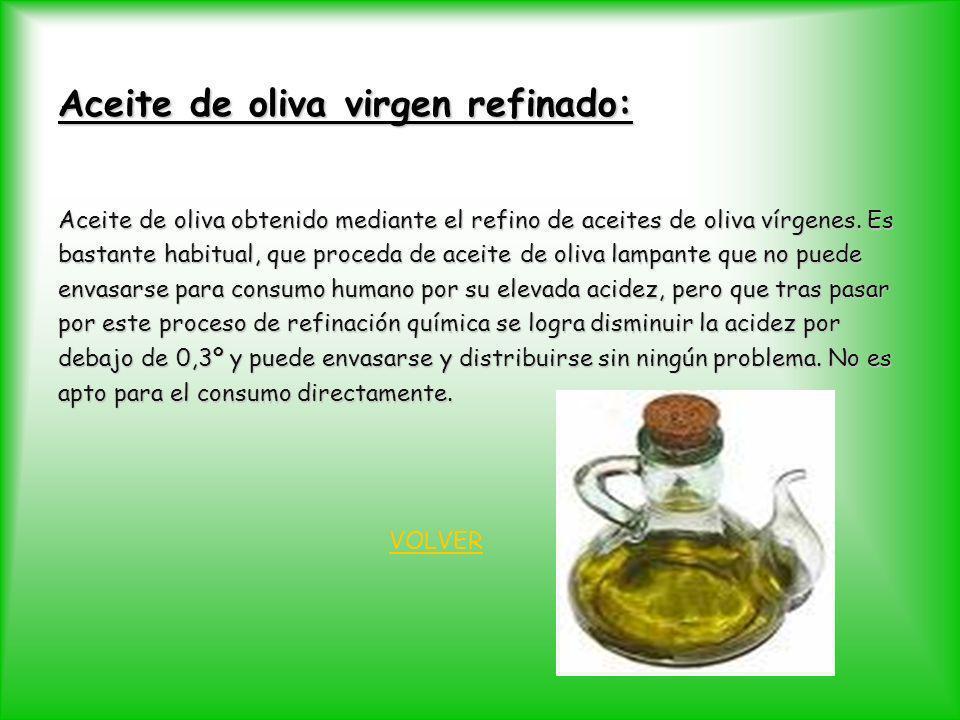 Aceite de oliva virgen refinado: Aceite de oliva obtenido mediante el refino de aceites de oliva vírgenes. Es bastante habitual, que proceda de aceite