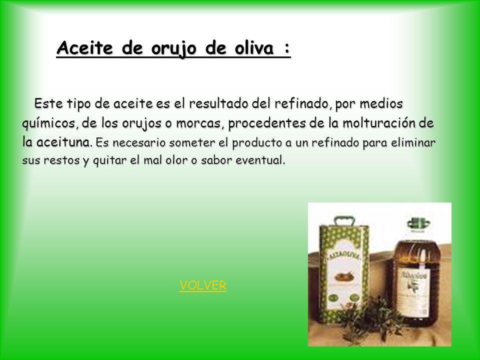 Aceite de orujo de oliva : Este tipo de aceite es el resultado del refinado, por medios Este tipo de aceite es el resultado del refinado, por medios q