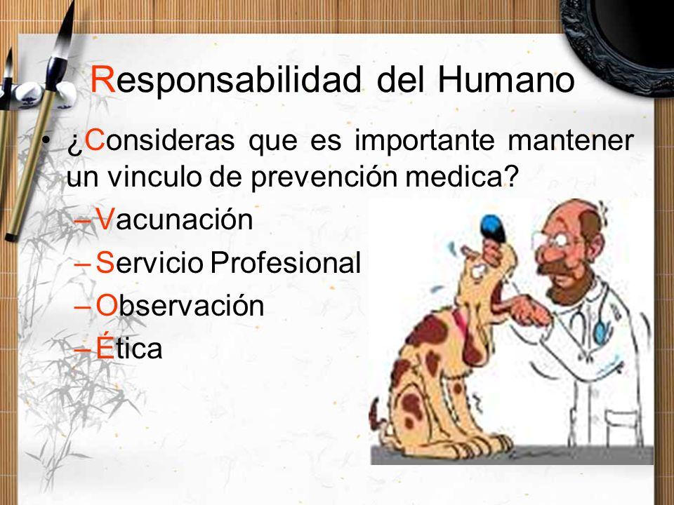Responsabilidad del Humano ¿Consideras que es importante mantener un vinculo de prevención medica? –Vacunación –Servicio Profesional –Observación –Éti