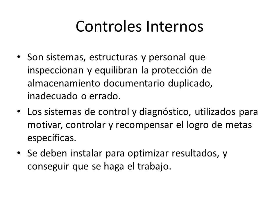 Controles Internos Son sistemas, estructuras y personal que inspeccionan y equilibran la protección de almacenamiento documentario duplicado, inadecua
