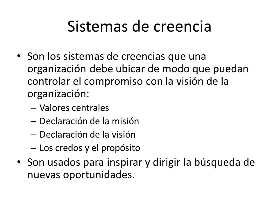 Sistemas de creencia Son los sistemas de creencias que una organización debe ubicar de modo que puedan controlar el compromiso con la visión de la org