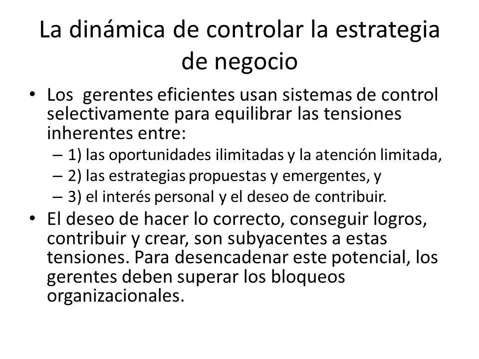 La dinámica de controlar la estrategia de negocio Los gerentes eficientes usan sistemas de control selectivamente para equilibrar las tensiones inhere