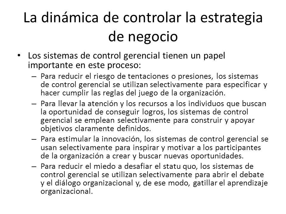 La dinámica de controlar la estrategia de negocio Los sistemas de control gerencial tienen un papel importante en este proceso: – Para reducir el ries