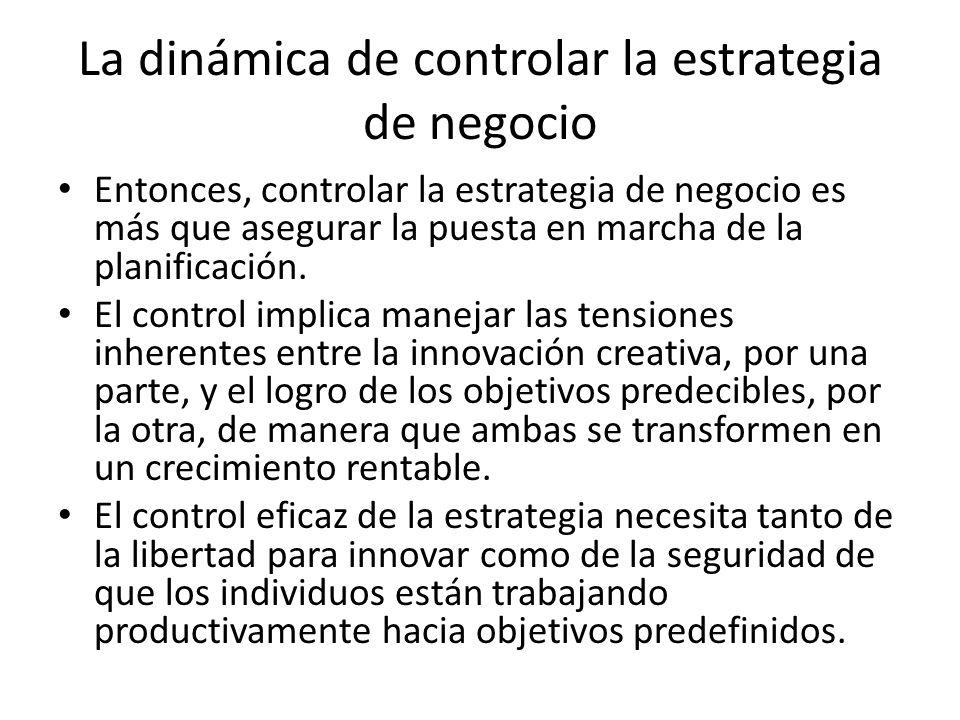 La dinámica de controlar la estrategia de negocio Entonces, controlar la estrategia de negocio es más que asegurar la puesta en marcha de la planifica