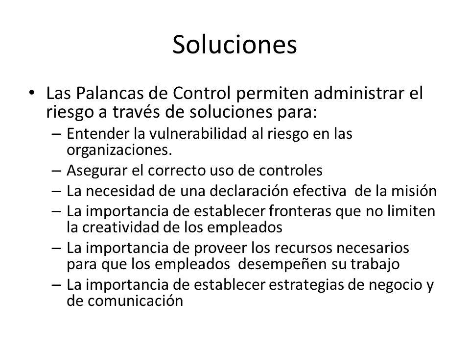 Soluciones Las Palancas de Control permiten administrar el riesgo a través de soluciones para: – Entender la vulnerabilidad al riesgo en las organizac