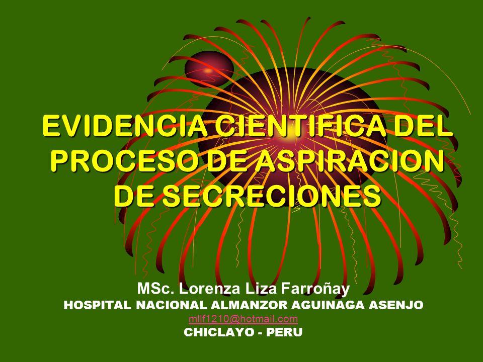 EVIDENCIA CIENTIFICA DEL PROCESO DE ASPIRACION DE SECRECIONES MSc. Lorenza Liza Farroñay HOSPITAL NACIONAL ALMANZOR AGUINAGA ASENJO mllf1210@hotmail.c