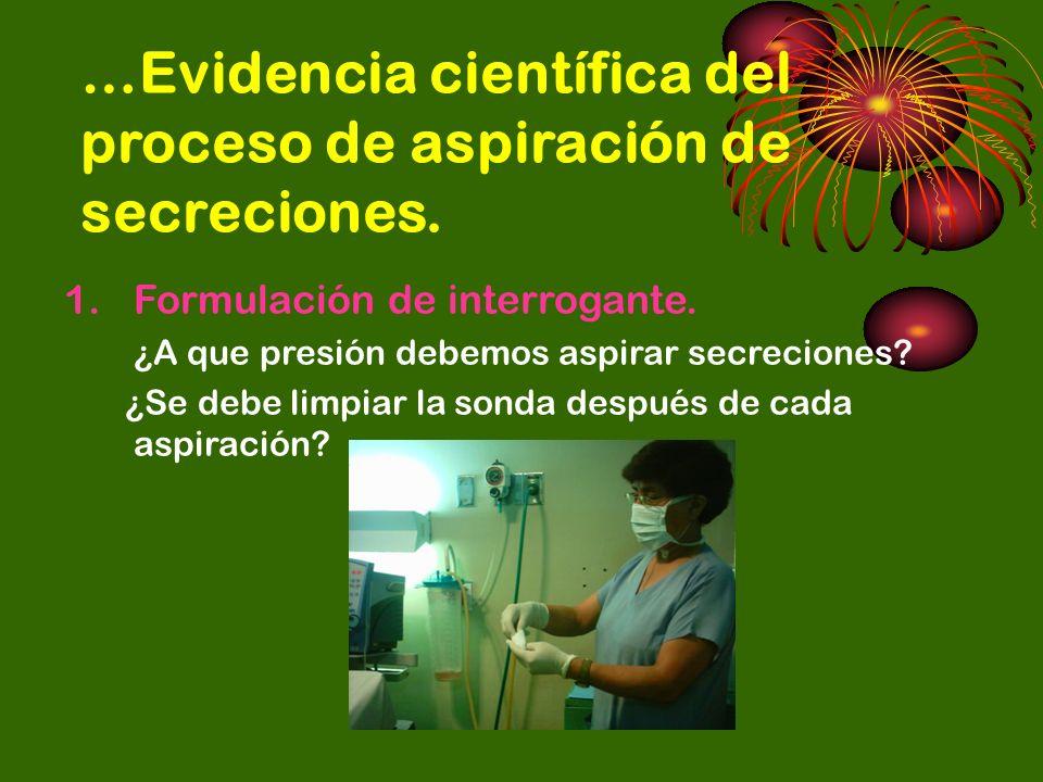 …Evidencia científica del proceso de aspiración de secreciones. 1.Formulación de interrogante. ¿A que presión debemos aspirar secreciones? ¿Se debe li