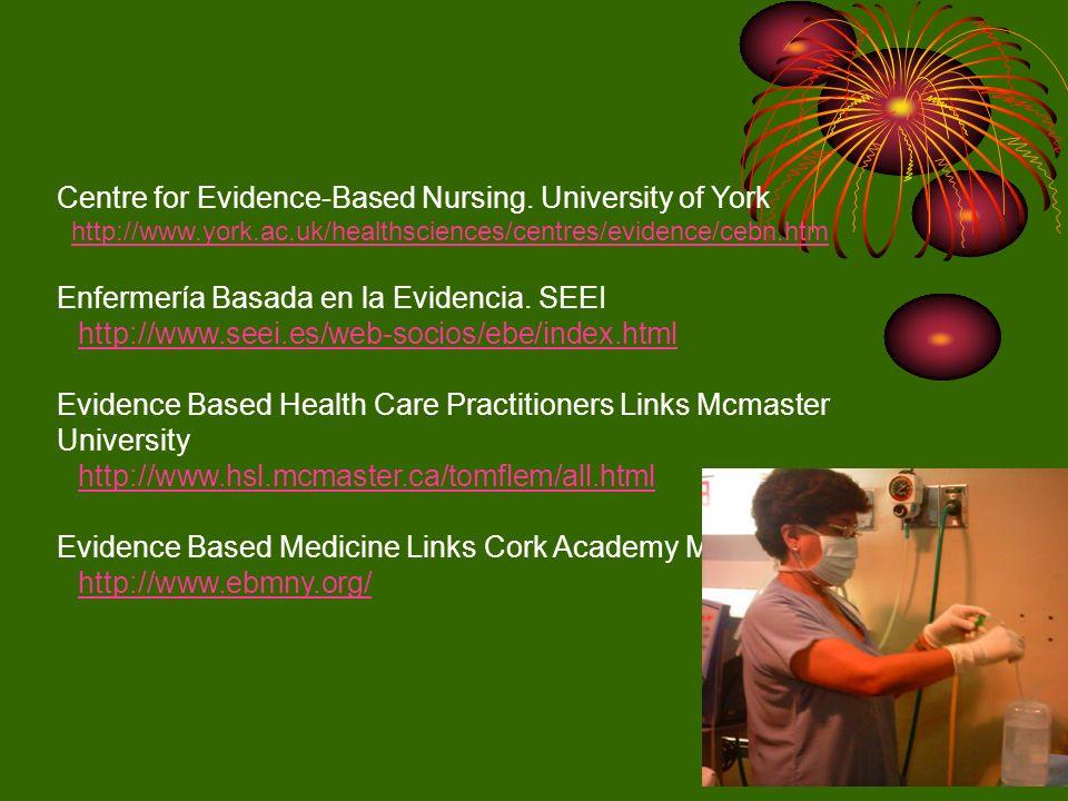 Centre for Evidence-Based Nursing. University of York http://www.york.ac.uk/healthsciences/centres/evidence/cebn.htm Enfermería Basada en la Evidencia