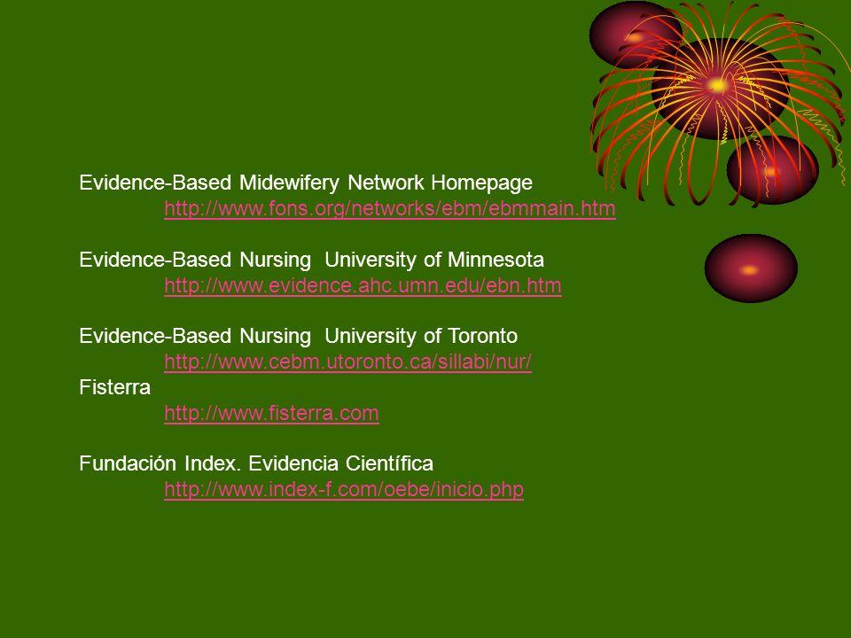 Evidence-Based Midewifery Network Homepage http://www.fons.org/networks/ebm/ebmmain.htm Evidence-Based Nursing University of Minnesota http://www.evid