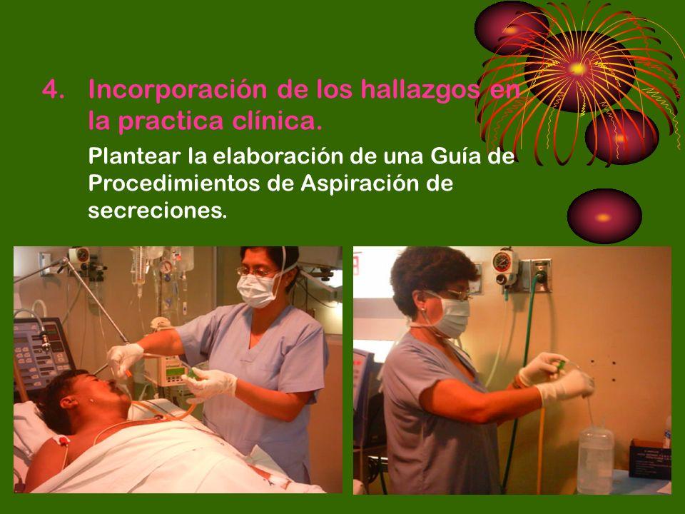 4.Incorporación de los hallazgos en la practica clínica. Plantear la elaboración de una Guía de Procedimientos de Aspiración de secreciones.