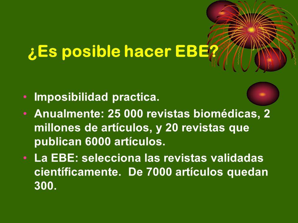 ¿Es posible hacer EBE? Imposibilidad practica. Anualmente: 25 000 revistas biomédicas, 2 millones de artículos, y 20 revistas que publican 6000 artícu