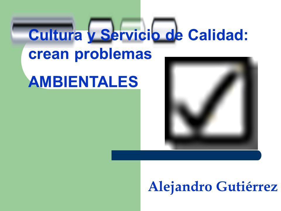 Cultura y Servicio de Calidad: crean problemas AMBIENTALES Alejandro Gutiérrez