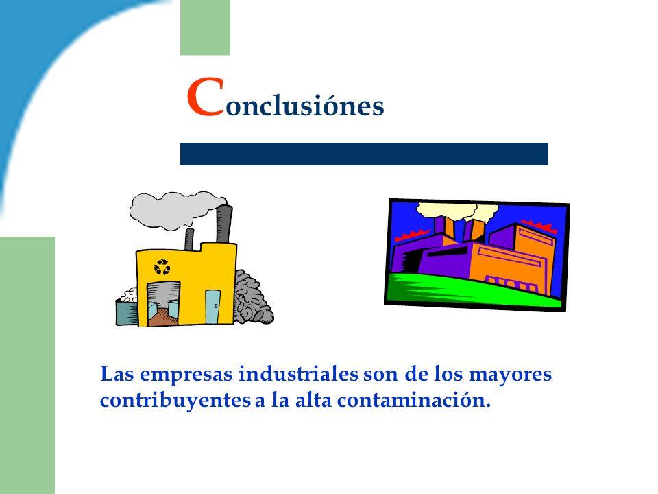 C onclusiónes Las empresas industriales son de los mayores contribuyentes a la alta contaminación.