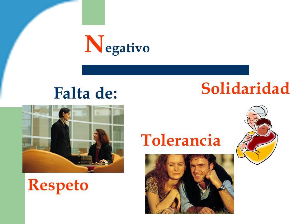 N egativo Falta de: Tolerancia Respeto Solidaridad