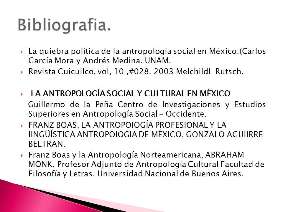 La quiebra política de la antropología social en México.(Carlos García Mora y Andrés Medina. UNAM. Revista Cuicuilco, vol, 10,#028. 2003 Melchildl Rut