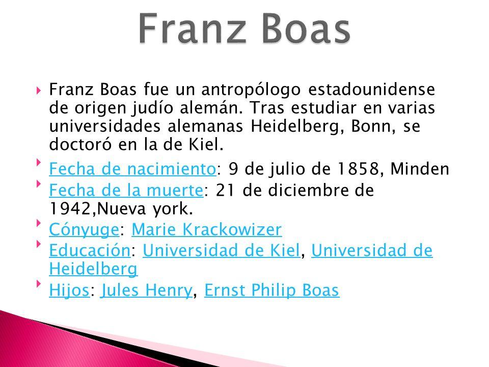 Franz Boas fue un antropólogo estadounidense de origen judío alemán. Tras estudiar en varias universidades alemanas Heidelberg, Bonn, se doctoró en la