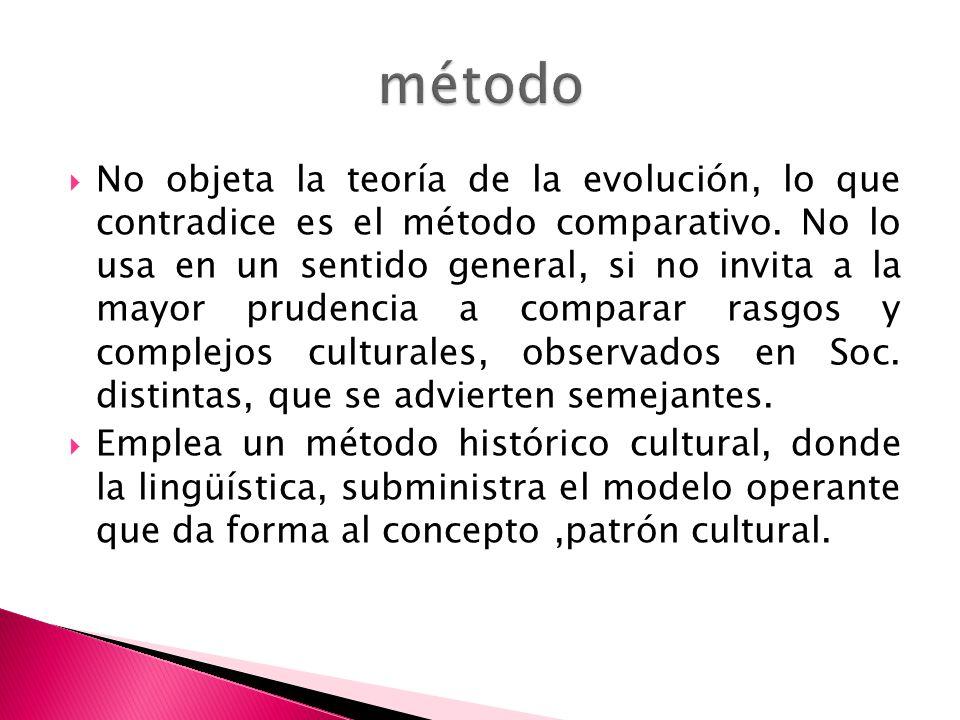 No objeta la teoría de la evolución, lo que contradice es el método comparativo. No lo usa en un sentido general, si no invita a la mayor prudencia a