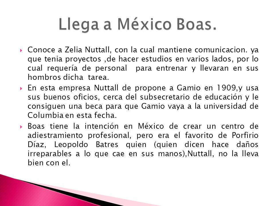 Conoce a Zelia Nuttall, con la cual mantiene comunicacion. ya que tenia proyectos,de hacer estudios en varios lados, por lo cual requería de personal