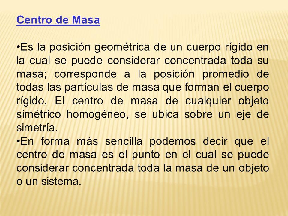 Centro de Masa Es la posición geométrica de un cuerpo rígido en la cual se puede considerar concentrada toda su masa; corresponde a la posición promed