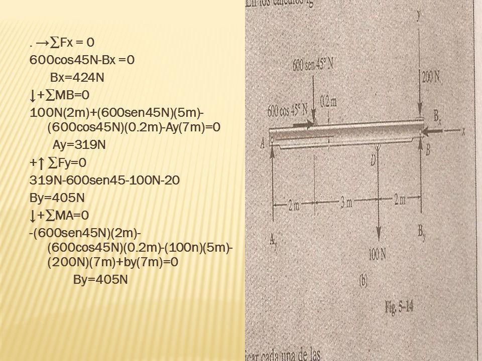 . Fx = 0 600cos45N-Bx =0 Bx=424N +MB=0 100N(2m)+(600sen45N)(5m)- (600cos45N)(0.2m)-Ay(7m)=0 Ay=319N + Fy=0 319N-600sen45-100N-20 By=405N +MA=0 -(600se