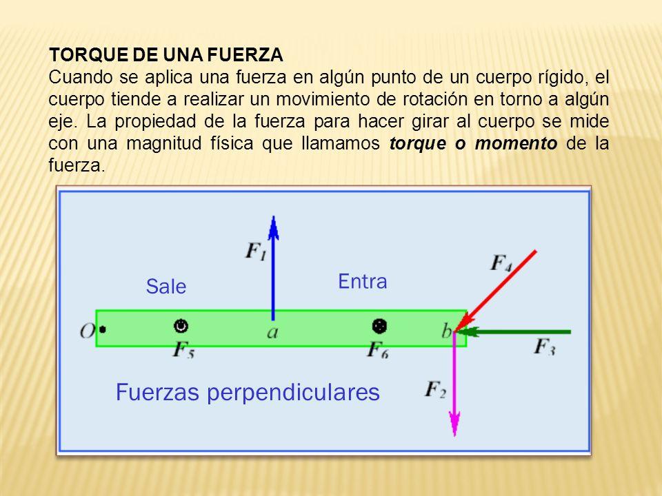 El torque es una magnitud vectorial, calculándose por el producto vectorial entre la fuerza y el vector distancia, donde se aplica la fuerza, su dirección es siempre perpendicular al plano de los vectores r y F, La unidad de medida del torque en el SI es el Nm (Newton - metro) centro de gravedad Cuando se tratan problemas con cuerpos rígidos se debe considerar la fuerza de gravedad o el peso del cuerpo, e incluir en los cálculos el torque producido por su peso.