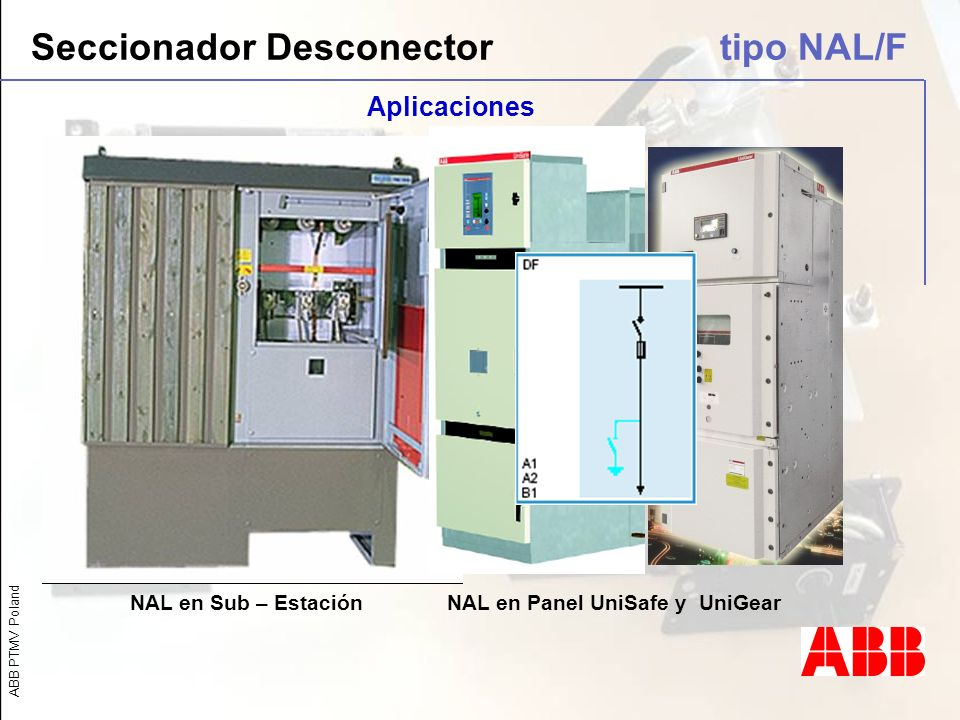 ABB PTMV Poland NAL en Panel UniSafe y UniGearNAL en Sub – Estación Seccionador Desconector tipo NAL/F Aplicaciones