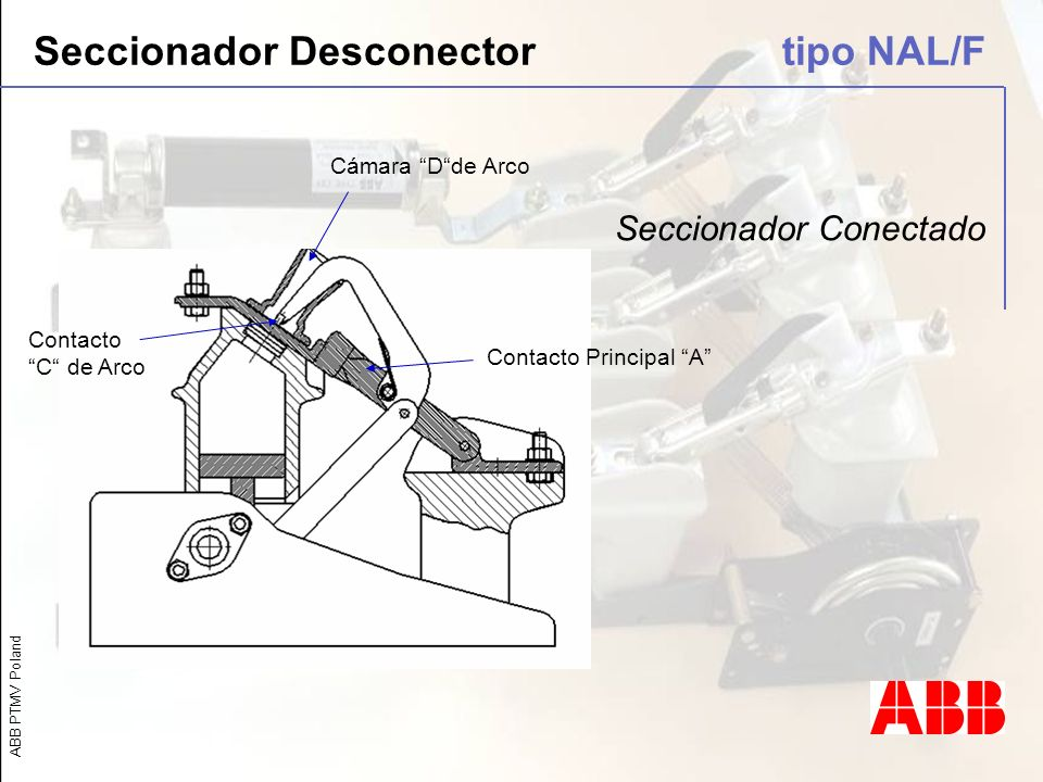 ABB PTMV Poland Seccionador Conectado Contacto Principal A Contacto C de Arco Cámara Dde Arco Seccionador Desconector tipo NAL/F