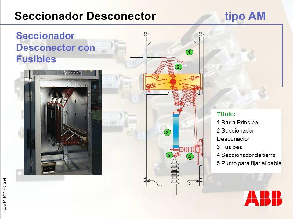 ABB PTMV Poland Seccionador Desconector con Fusibles Título: 1 Barra Principal 2 Seccionador Desconector 3 Fusibes 4 Seccionador de tierra 5 Punto par