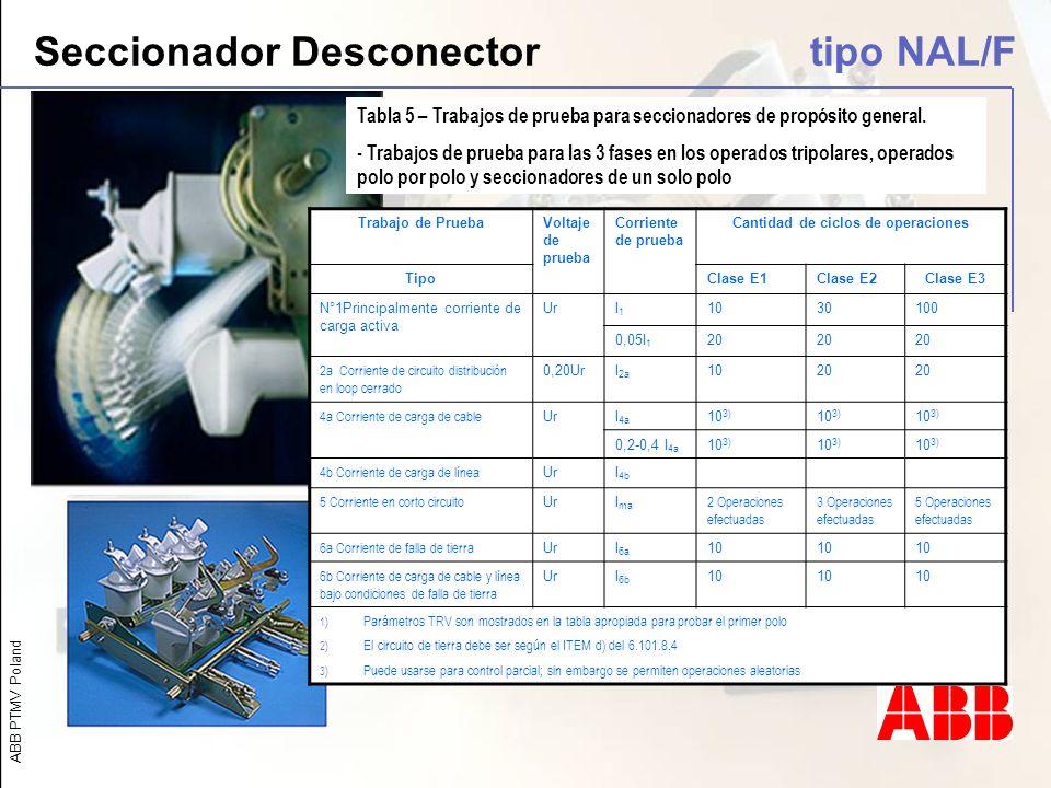 ABB PTMV Poland Seccionador Desconector tipo NAL/F Tabla 5 – Trabajos de prueba para seccionadores de propósito general. - Trabajos de prueba para las