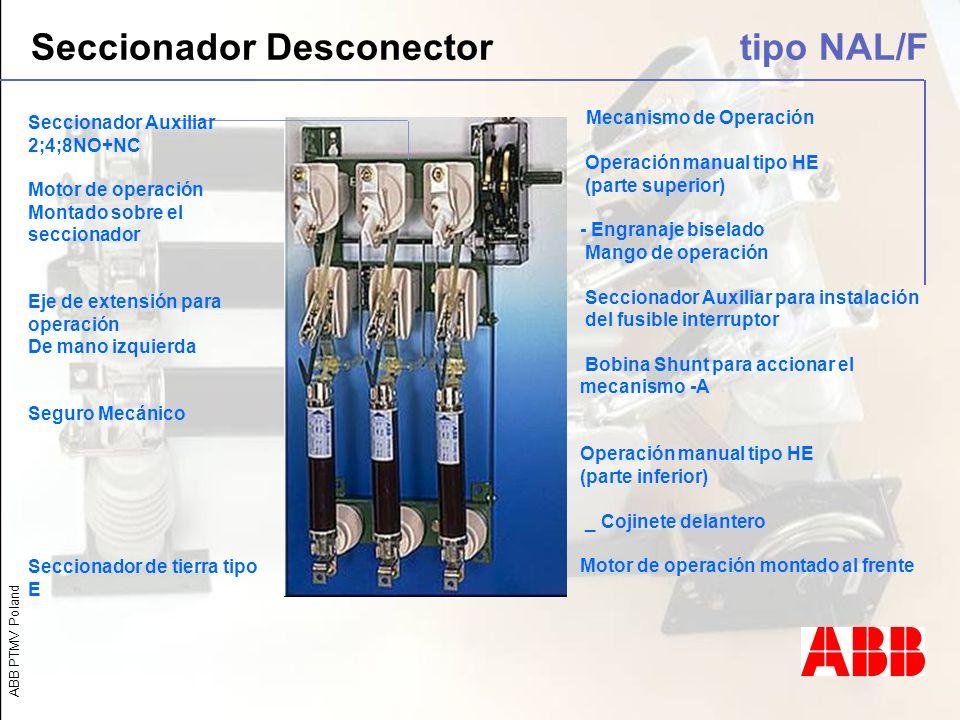 ABB PTMV Poland Seccionador Desconector tipo NAL/F Seccionador Auxiliar 2;4;8NO+NC Motor de operación Montado sobre el seccionador Eje de extensión pa