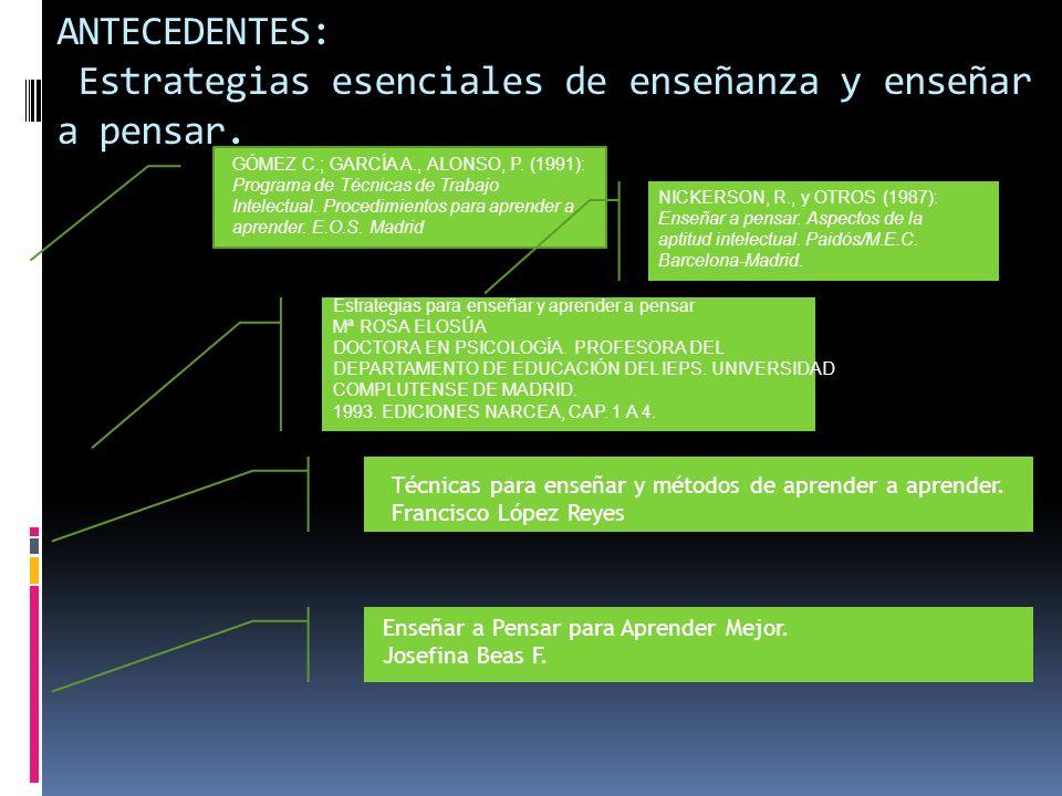 ANTECEDENTES: Estrategias esenciales de enseñanza y enseñar a pensar. GÓMEZ C.; GARCÍA A., ALONSO, P. (1991): Programa de Técnicas de Trabajo Intelect