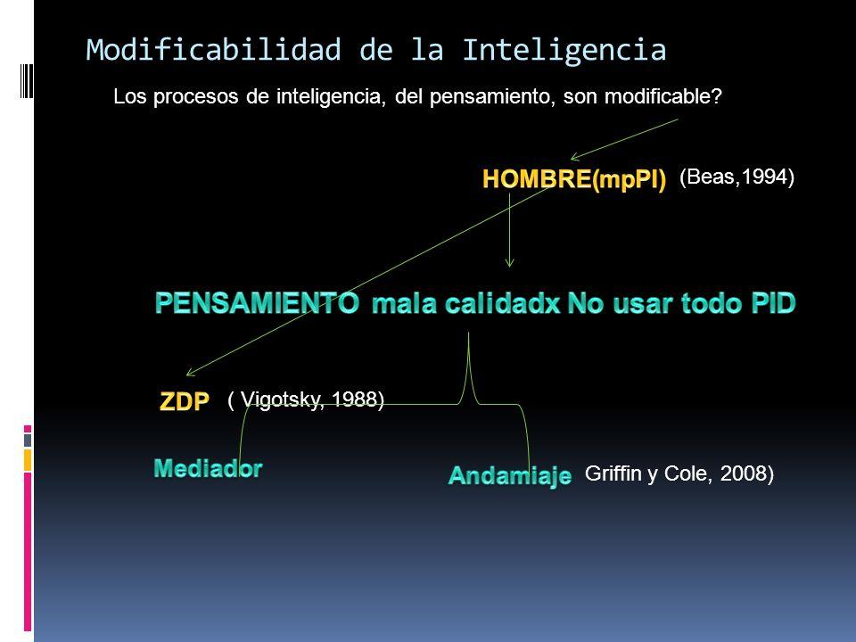 Modificabilidad de la Inteligencia Los procesos de inteligencia, del pensamiento, son modificable? (Beas,1994) ( Vigotsky, 1988) Griffin y Cole, 2008)