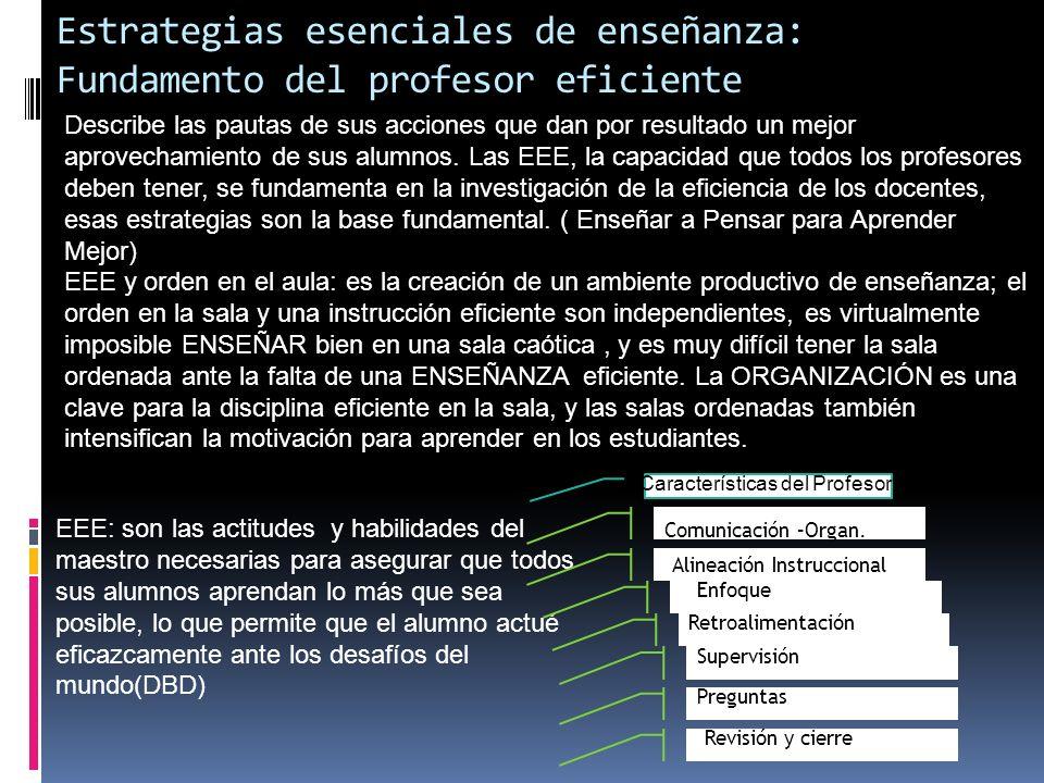 Estrategias esenciales de enseñanza: Fundamento del profesor eficiente Describe las pautas de sus acciones que dan por resultado un mejor aprovechamie