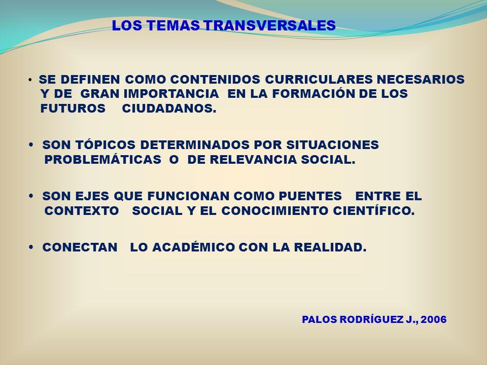 LOS TEMAS TRANSVERSALES SE DEFINEN COMO CONTENIDOS CURRICULARES NECESARIOS Y DE GRAN IMPORTANCIA EN LA FORMACIÓN DE LOS FUTUROS CIUDADANOS. SON TÓPICO