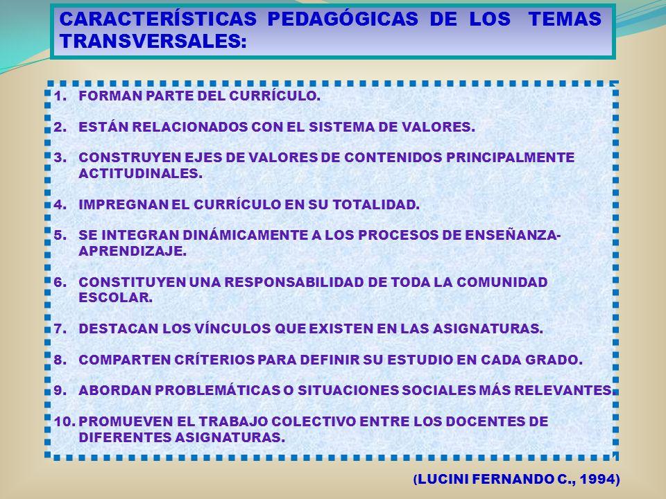 CARACTERÍSTICAS PEDAGÓGICAS DE LOS TEMAS TRANSVERSALES: 1.FORMAN PARTE DEL CURRÍCULO. 2.ESTÁN RELACIONADOS CON EL SISTEMA DE VALORES. 3.CONSTRUYEN EJE