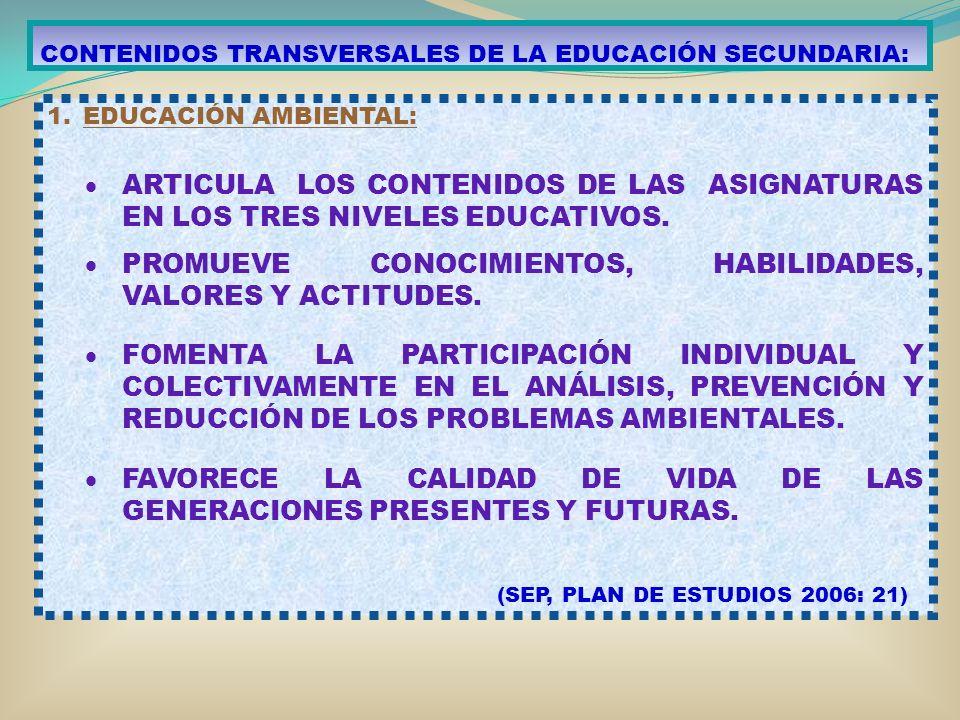 CONTENIDOS TRANSVERSALES DE LA EDUCACIÓN SECUNDARIA: 1.EDUCACIÓN AMBIENTAL: ARTICULA LOS CONTENIDOS DE LAS ASIGNATURAS EN LOS TRES NIVELES EDUCATIVOS.