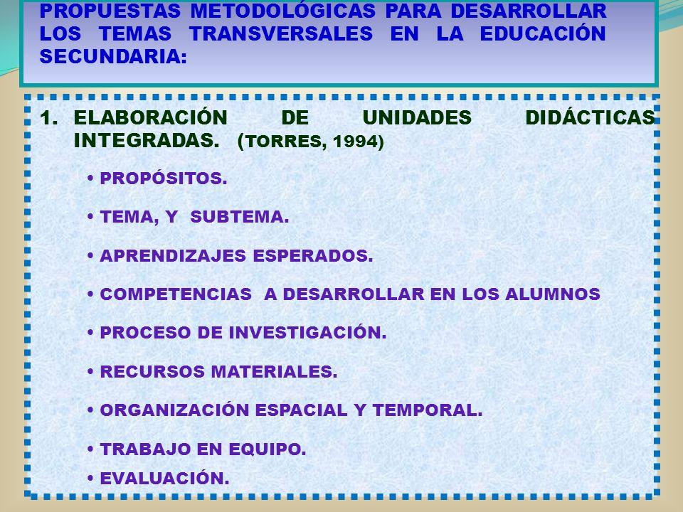 PROPUESTAS METODOLÓGICAS PARA DESARROLLAR LOS TEMAS TRANSVERSALES EN LA EDUCACIÓN SECUNDARIA: 1.ELABORACIÓN DE UNIDADES DIDÁCTICAS INTEGRADAS. ( TORRE
