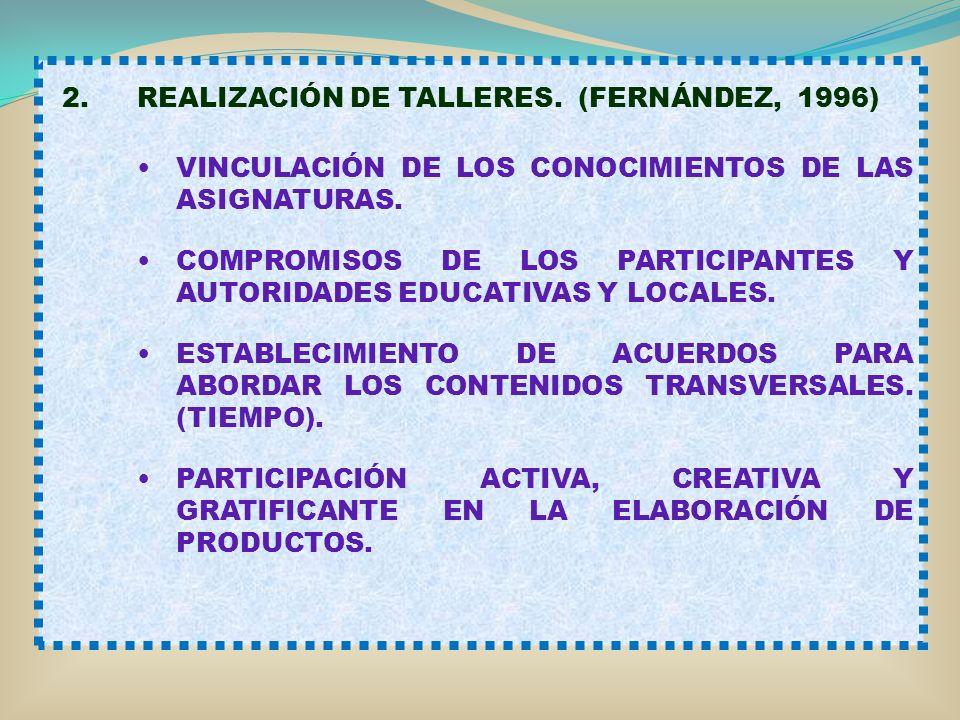 2.REALIZACIÓN DE TALLERES. (FERNÁNDEZ, 1996) VINCULACIÓN DE LOS CONOCIMIENTOS DE LAS ASIGNATURAS. COMPROMISOS DE LOS PARTICIPANTES Y AUTORIDADES EDUCA