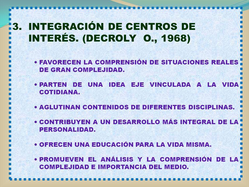 3. INTEGRACIÓN DE CENTROS DE INTERÉS. (DECROLY O., 1968) FAVORECEN LA COMPRENSIÓN DE SITUACIONES REALES DE GRAN COMPLEJIDAD. PARTEN DE UNA IDEA EJE VI