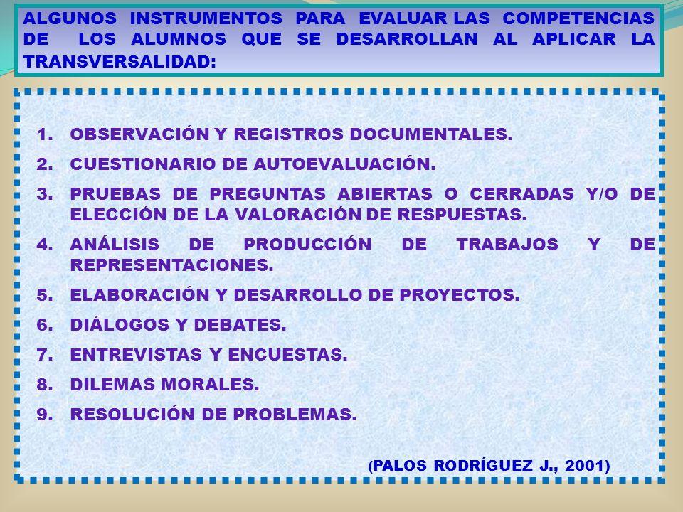 ALGUNOS INSTRUMENTOS PARA EVALUAR LAS COMPETENCIAS DE LOS ALUMNOS QUE SE DESARROLLAN AL APLICAR LA TRANSVERSALIDAD: 1.OBSERVACIÓN Y REGISTROS DOCUMENT