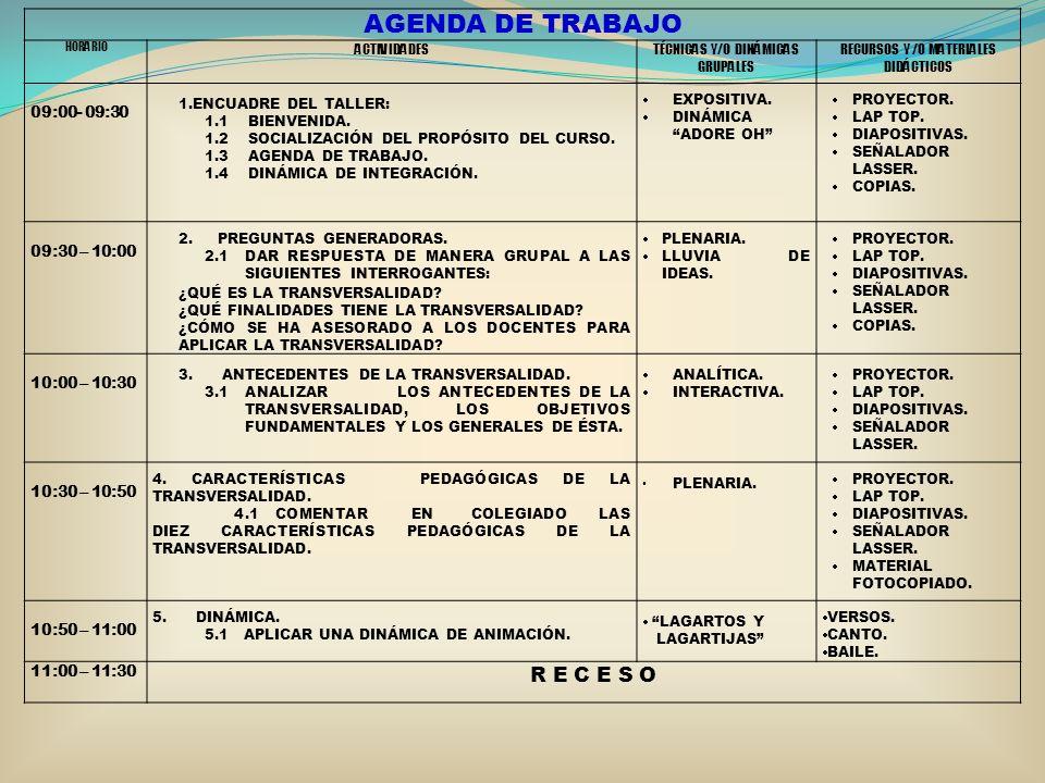 AGENDA DE TRABAJO HORARIO ACTIVIDADESTÉCNICAS Y/O DINÁMICAS GRUPALES RECURSOS Y /0 MATERIALES DIDÁCTICOS 09:00- 09:30 1.ENCUADRE DEL TALLER: 1.1 BIENV