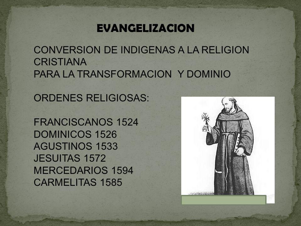 EVANGELIZACION CONVERSION DE INDIGENAS A LA RELIGION CRISTIANA PARA LA TRANSFORMACION Y DOMINIO ORDENES RELIGIOSAS: FRANCISCANOS 1524 DOMINICOS 1526 A