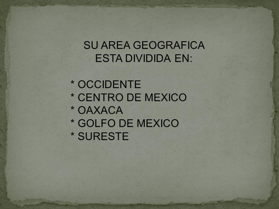 SU AREA GEOGRAFICA ESTA DIVIDIDA EN: * OCCIDENTE * CENTRO DE MEXICO * OAXACA * GOLFO DE MEXICO * SURESTE