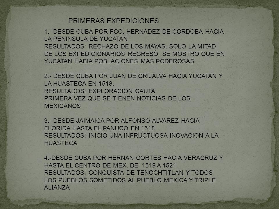 PRIMERAS EXPEDICIONES 1.- DESDE CUBA POR FCO. HERNADEZ DE CORDOBA HACIA LA PENINSULA DE YUCATAN RESULTADOS: RECHAZO DE LOS MAYAS. SOLO LA MITAD DE LOS