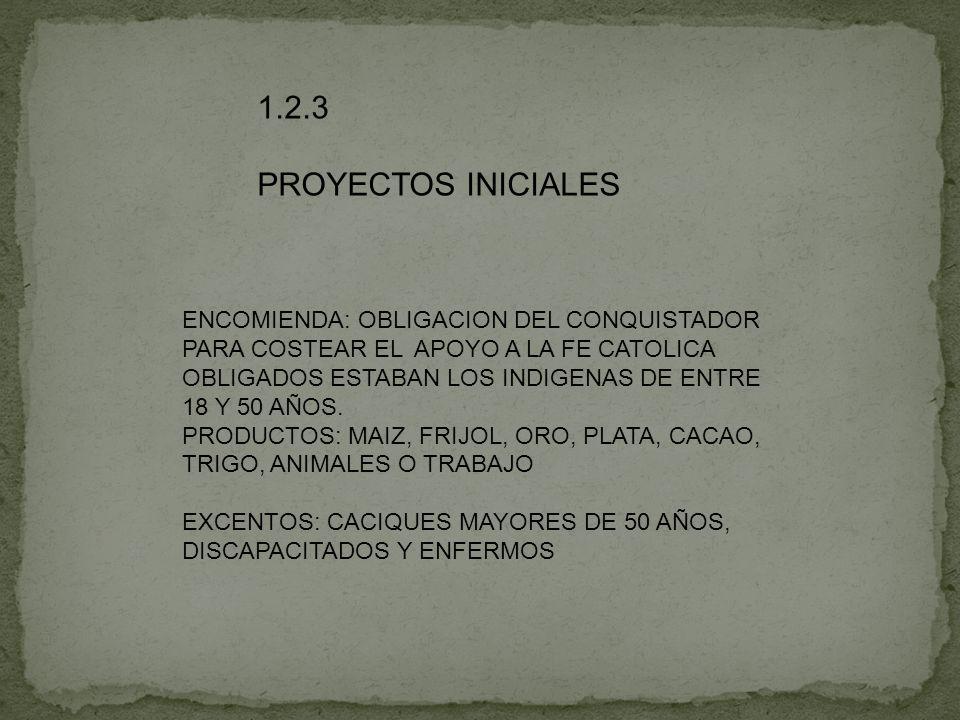 1.2.3 PROYECTOS INICIALES ENCOMIENDA: OBLIGACION DEL CONQUISTADOR PARA COSTEAR EL APOYO A LA FE CATOLICA OBLIGADOS ESTABAN LOS INDIGENAS DE ENTRE 18 Y