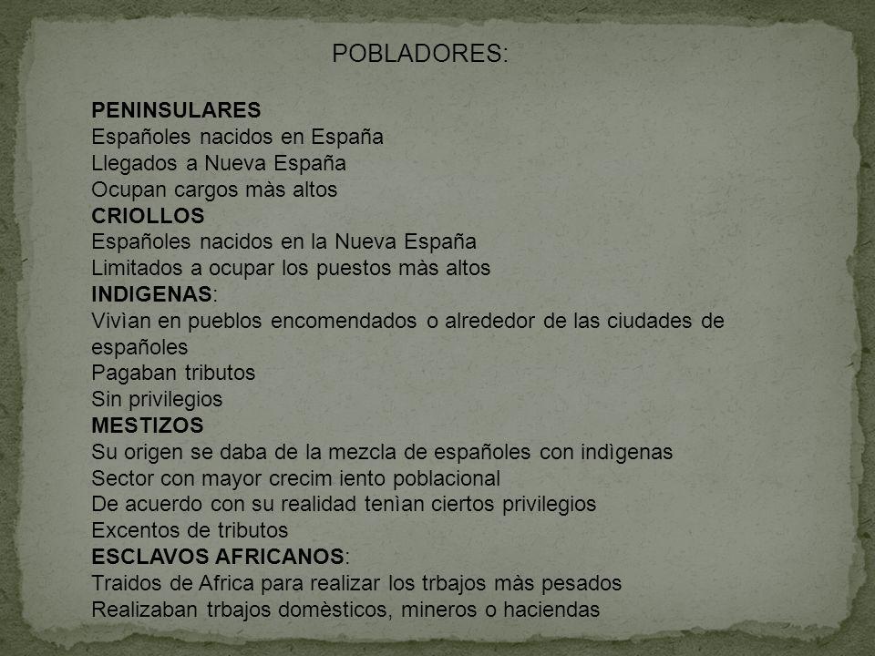POBLADORES: PENINSULARES Españoles nacidos en España Llegados a Nueva España Ocupan cargos màs altos CRIOLLOS Españoles nacidos en la Nueva España Lim