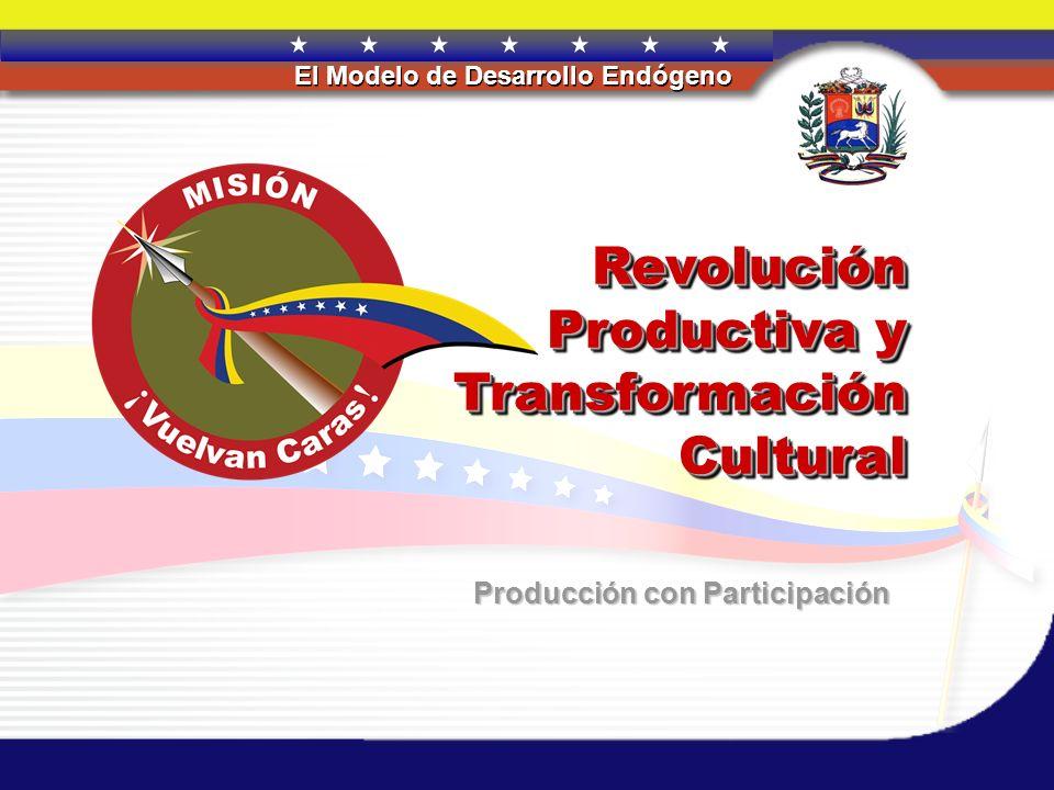 REPÚBLICA BOLIVARIANA DE VENEZUELA El Modelo de Desarrollo Endógeno Revolución Productiva y Transformación Cultural Producción con Participación